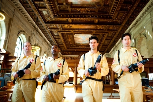 Ghostbusters entering NY Public Library looking for ghosts.